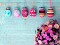 Hand-painted easter eggs with tulips Stock Image