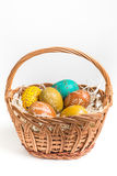 Hand painted easter eggs on white Stock Image