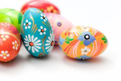 Hand painted Easter eggs on white. Spring patterns art Royalty Free Stock Photos