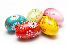 Hand painted Easter eggs on white. Spring patterns art stock photos