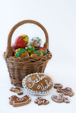 Hand painted eggs in a basket Royalty Free Stock Photo