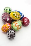 Painted Easter eggs. Hand painted eggs decorated by various techniques before Easter Royalty Free Stock Images