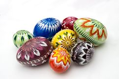 Painted Easter eggs. Hand painted eggs decorated by various techniques before Easter Royalty Free Stock Photo