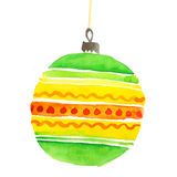 Hand painted elegant festive bubbles decor. Cute simple Christmas tree bulbs decoration design element.  Christmas decorations watercolor illustration. Xmas Royalty Free Stock Photography