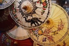 Hand painted fabric umbrellas stock photos