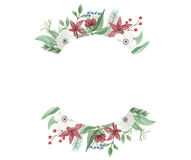 Watercolor Flower Christmas Arrangement Festive Jolly Floral Hand Painted Holidays Bouquet. Hand-painted Festive watercolor clip art high quality floral Royalty Free Stock Photography