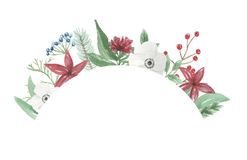 Watercolor Arch Wreath Christmas Frame Flower Arrangement Festive Jolly Hand Painted Holidays Stock Photo