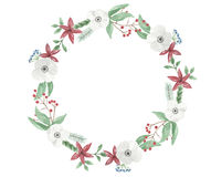 Watercolor Christmas Flower Wreath Garland Festive Jolly Floral Hand Painted Holidays Bouquet. Hand-painted Festive watercolor clip art high quality floral Royalty Free Stock Image