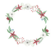 Watercolor Wreath Christmas Frame Flower Arrangement Festive Jolly Hand Painted Garland Holidays Stock Photos
