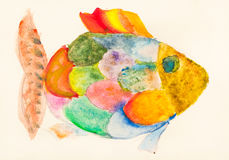 Hand painted fish with multicolored scales. Drawn by watercolors on ivory colored paper Royalty Free Stock Photos