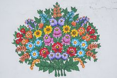 Hand painted floral design stock images
