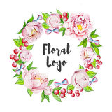 Hand painted floral logo Royalty Free Stock Photo