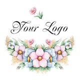 Hand painted floral logo Royalty Free Stock Photos