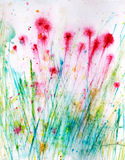 Hand-painted flower and grass Stock Image