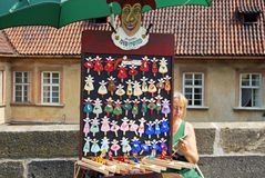 Hand painted fridge magnets, Prague. Royalty Free Stock Images