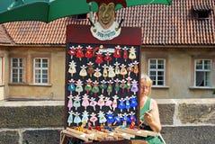 Hand painted fridge magnets, Prague. Royalty Free Stock Images