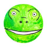 Hand-painted frog carnival mask for children, on paper plate stock photography