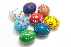 Hand-painted genuine egg shells. Isolated Stock Photo