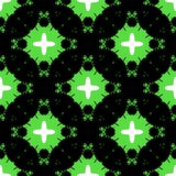 Hand painted geometric abstract pattern. It is seamless vector in bright green, black and white colors royalty free illustration
