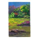 Gouache landscape. Hand painted gouache landscape, trees and flowers stock illustration