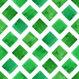 Watercolor green geometry shapes. Seamless pattern. Hand painted green geometry shapes. Watercolor seamless pattern. Abstract painting Stock Photo