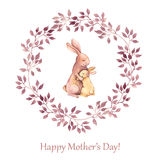 Hand painted greeting card for Mothers day with animals - mother rabbit hugging her kid. Watercolor drawing Royalty Free Stock Photo