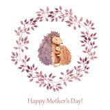 Hand painted greeting card for Mothers day with cute animal - mother hedgehog hugging her child. Watercolor Stock Photo