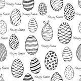 Hand-painted happy Easter seamless background. Sketch of the black-white eggs. Easter eggs seamless pattern. Hand painted happy Easter seamless background stock illustration