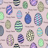 Hand-painted happy Easter seamless background. Sketch of the colourful eggs. Easter eggs seamless pattern. Hand painted happy Easter seamless background. Sketch stock illustration