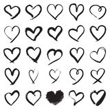 Hand painted heart symbols. Heart symbols. Collection of 25 hand painted heart signs  on a white background. Vector illustration Royalty Free Stock Photography