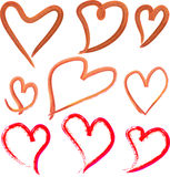Red Hand Painted Hearts Icons Set Stock Photo