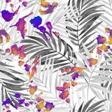 Hand painted illustration for summer design on paint splatter textured background. Watercolor silhouette of tropical leaves, colorful staines seamless pattern Royalty Free Illustration