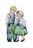 Hand painted illustration of two children. Twins. Boy and girl. Royalty Free Stock Photo