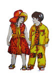 Hand painted illustration of two children. Twins. Boy and girl. Royalty Free Stock Images