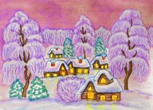 Winter landscape, painting Stock Images