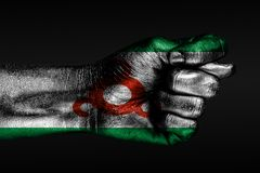 A hand with a painted Ingushetia flag shows a fig, a sign of aggression, disagreement, a dispute on a dark background. Horizontal frame royalty free stock photos