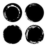 Hand painted ink blobs set. Hand drawn grunge circles. Black round buttons. Graphic design element for web, corporate identity, cards, prints etc. Vector Royalty Free Stock Images