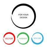 Hand painted ink circles set. Graphic design elements for web sites, corporate identity, posters etc. vector illustration