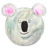 Hand-painted koala carnival mask for children, on paper plate royalty free stock photo