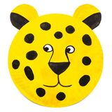 Hand-painted leopard carnival mask for children, on paper plate royalty free stock photography
