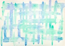 Hand painted light blue green watercolor background. Hand painted light blue green watercolor crosshatch background stock image