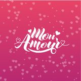 Hand painted love card with words Mon Amour - modern calligraphy design for wedding card or Valentine`s day card.  Royalty Free Stock Images