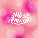 Hand painted love card with words Mon Amour - modern calligraphy design for wedding card or Valentine`s day card.  Royalty Free Stock Photo