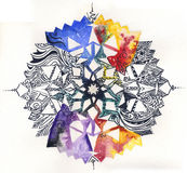 Hand painted mandala. A hand painted mandala: watercolors and black pen. Isolated with white background Royalty Free Stock Images