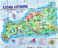 Hand painted map of Capri Island Stock Photo