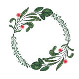 Hand painted with markers floral wreath with twig, branch and green abstract leaves Royalty Free Stock Photography