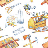 Hand painted men`s work illustration. Seamless pattern with carpentry tools. Watercolor toolbox, roulette, hammer. Scissor, plan. Profession, hobby, craft vector illustration