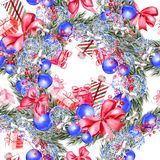 Hand painted merry christmas seamless pattern with watercolor Christmas tree, balls of blue colors, gifts and toys. royalty free illustration