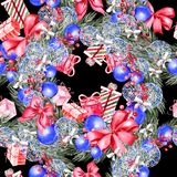 Hand painted merry christmas seamless pattern with watercolor Christmas tree, balls of blue colors, gifts and toys. stock photography