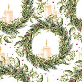 Hand painted merry christmas seamless pattern with watercolor Christmas wreath and candles in the middle. Illustration stock illustration